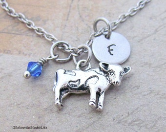 Cow Charm Necklace, Personalized Antique Silver Hand Stamped  Initial Birthstone, Cow Charm Necklace
