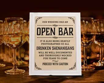 Wedding open bar etsy wedding open bar sign rustic wedding decor wedding reception kraft paper printable wedding solutioingenieria Gallery