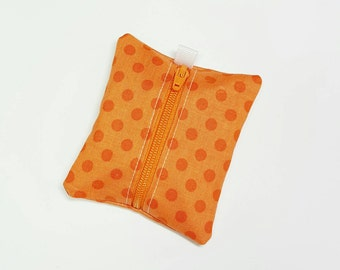 FREE SHIPPING UPGRADE with minimum -  Tiny zipper pouch / earbud holder / earbud pouch / coin pouch | orange dots on orange