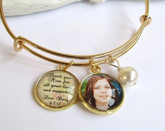 Mother of the Bride Gift, Gold Bangle Bracelet, Personalized Photo Bracelet