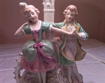 Vintage Colonial Couple Dancing- Lamp With Shade