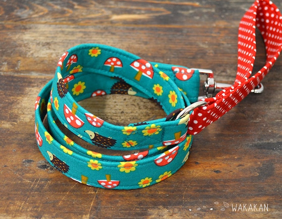 Leash for dog Forest Friends. Handmade with 100% cotton fabric and webbing. Two width available. Wakakan