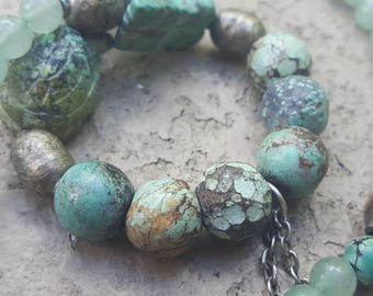 Boho Vintage Tibetan Turquoise and Glass Bead Necklace