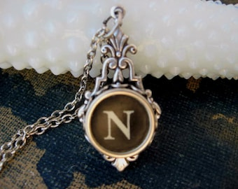 Typewriter Key Jewelry - Typewriter Necklace - Initial N - Typewriter Charm - Vintage Key