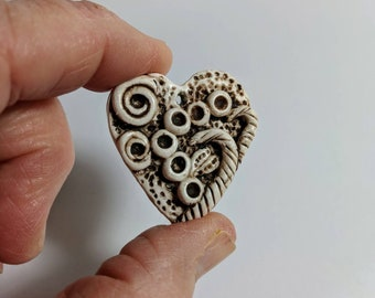 Heart Pendant, Ivory and Brown, Jewelry Supplies,  Polymer Clay, Detailed Heart, Add Cord
