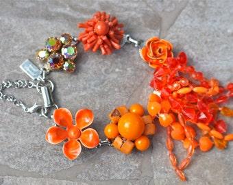Bridesmaid Gift, Vintage Earring Bracelet, Upcycled, Orange, Tangerine, Apricot, Silver, Charm, Jennifer Jones, Under 40, OOAK - Firecracker