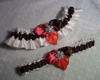 Fall Foliage Bridal Garter Set, Ivory Satin with leaves in Chocolate Brown, Apple Red & Persimmon Wedding garter Set, Garter Toss