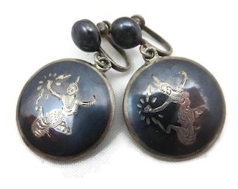 Siam Sterling Earrings - Screw Back Silver Thai Goddess Jewelry, Round Dangles Vintage Earrings for Women