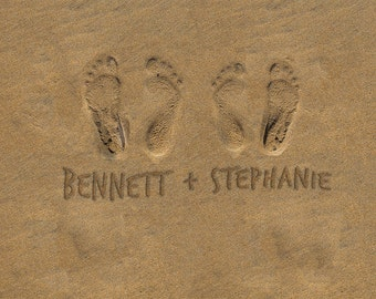 Personalized Wedding Gift Ocean Beach Footprints Photo Names in the Sand Romantic Beach Decor Anniversary Gift pp164