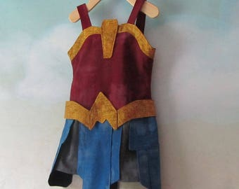 Girl's Latest Wonder Woman/Girl Diana Prince, Warrior Costume: Dress And Belt - All Cotton, Sizes 3 To 9 - Made To Order