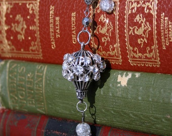 Hot air balloon necklace clear crystal antique silver steampunk style 3D pendant charm