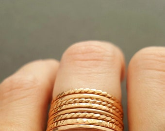 Rose Gold Rings thin minimalist rings boho mum womens gifts rose gold twist ring, textured ring, smooth ring, hammered ring