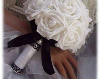 bouquet of white roses with black bow, Black Lace and half white pearls