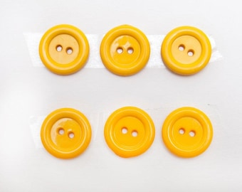 1980s Buttons - Color of Unsalted Butter - Six Total - from Late Great Mom's Sewing Box