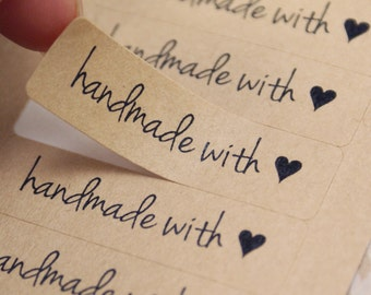 HANDMADE WITH LOVE stickers & heart in Free Spirit Font - Kraft Brown or White handmade with love Labels - made with love stickers