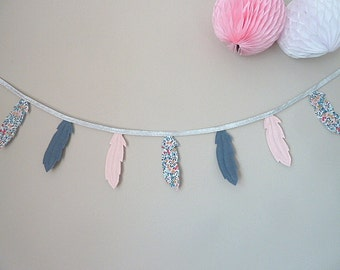 Liberty Liberty wiltshire blue powder pink linen and porcelain feather Garland