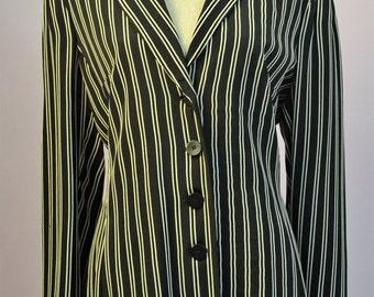 Designer blazer jacket dress.. Made by MADELEINE. Black and white striped jacket UK size 14