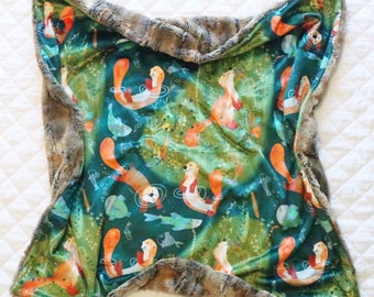 Playful Otters, Minky and Faux Fox Lux Baby Blanket, Snuggly Lux Toddler Blanket