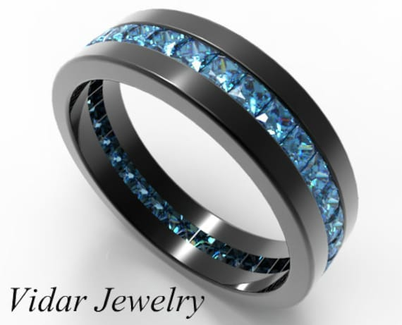 mens black gold ring his anniversary ring black band for