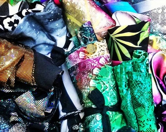 Surprise Box of Bright and Sparkly Factory fabric scraps