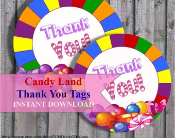 Thank you tags for Candyland Birthday Party Favor, Candy Land thank you gift  Candyland Party, Hershey's, PRINTABLE Digital