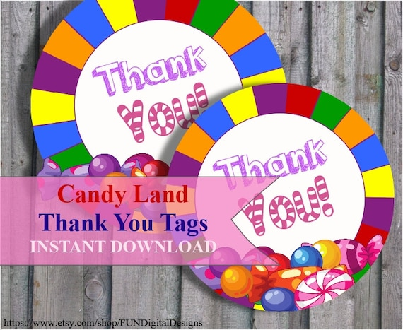 Thank You Tags For Candyland Birthday Party Favor Candy Land