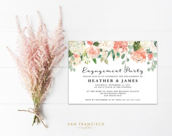 Engagement Party Invitation INSTANT DOWNLOAD - Editable PDF Template, Peach, Coral, Watercolor - Heather Collection