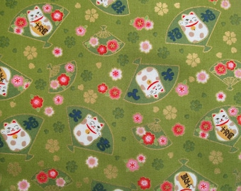 Fat quarter cotton Japanese fabric - manekineko fans