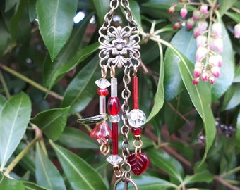 Red and Brass Garden Fairy Wind Chime with Peace Symbol - Fairy Garden Accessory WC-12