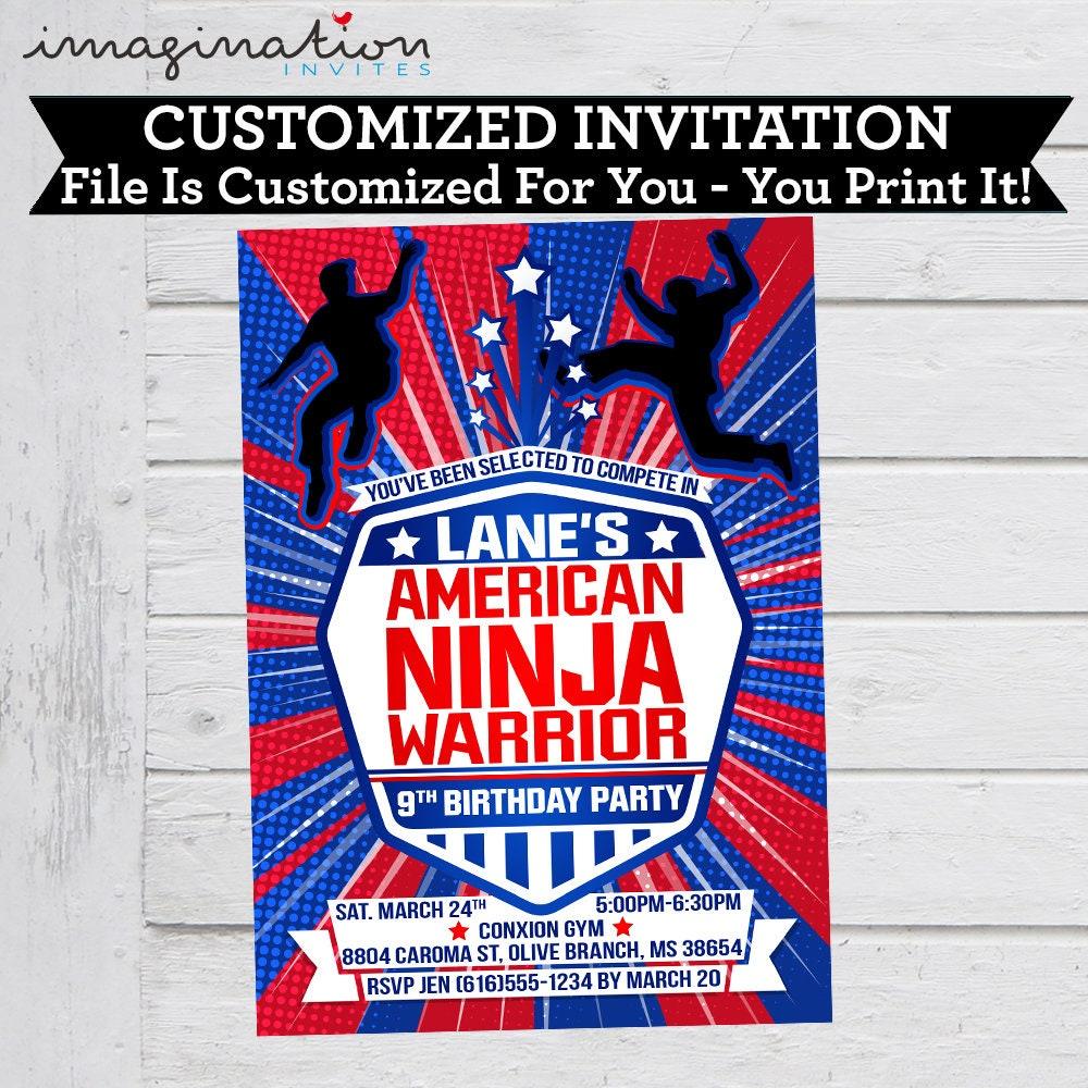American Ninja Warrior Invitation ANW Birthday Invitations Boy