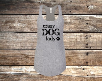 Crazy Dog Lady Slim Fit Racerback Tank Top, Heather Gray