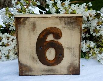 wedding table numbers - guest table numbers - rustic wedding decor - distressed wedding decor - barn weddings - rustic table decor
