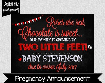 Valentine's Day Pregnancy Announcement - Valentine's Day - Baby Reveal - Digital - Pregnancy Announcement - Two Little Feet - Roses are red