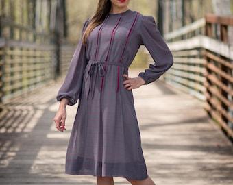 Vintage Sheer Charcoal Gray Grid Line Dress (Size Medium)