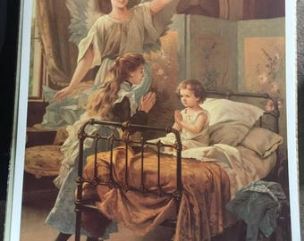 Vintage Print of Guardian Angel with Children Praying