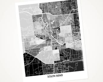 South Bend Map Print.  Choose the Colors and Size.  Perfect art for your favorite Notre Dame Fighting Irish Fan.  Indiana Office Decor.