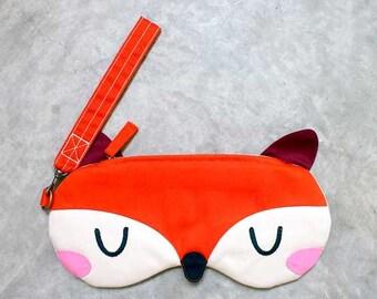 Fox Zip Purse, Fox Zip Pouch, Fox Wristlet, Fox Wrist Pouch, Fox Wrist Clutch, Fabric Wristlet, Fabric Fox, The Fantastic Fox - ORANGE FOX