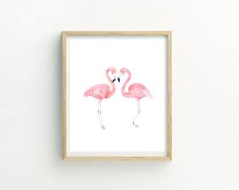 Flamingo Print | Flamingo Wall Art | Flamingo Picture | Flamingo Printable | Flamingo Artwork | Flamingo Watercolor | Watercolor Wall Art