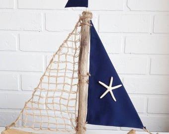 Driftwood Sailboat, Navy blueSailboat, Sailor Gift, Driftwood Sailboat, Driftwood Boat