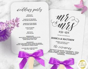 Wedding Fans, Printable Wedding Fan Program Template, Fan Wedding Program, Editable text, Modern Calligraphy, Mr Mrs, 004