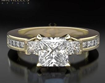 Diamond Engagement Ring With Side Stones 18 Karat Yellow Gold Ladies Princess Cut 1.9 Carat Certified F SI1 Diamond