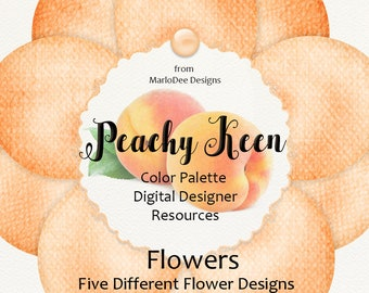 Peachy Keen | 40 Color Palette Designer Resources | Flower Graphics