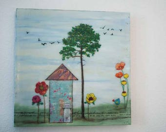 """Encaustic Painting.  """"Love"""", Sweet Home collection, Mixed Media, 12x12"""