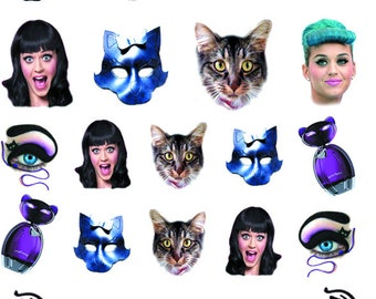 Katy Perry Nail Decals-Pop Star Nail Decals-Music Decals-Fingernail Decals-Famous-Celebrity-Stickers-Nail Art