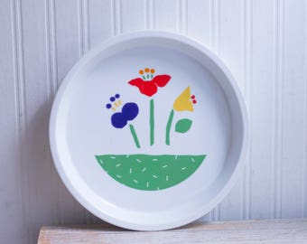 Vintage Pie Plate or Pan  with Tulip Flowers, Made in Japan, Retro Kitchen Baking