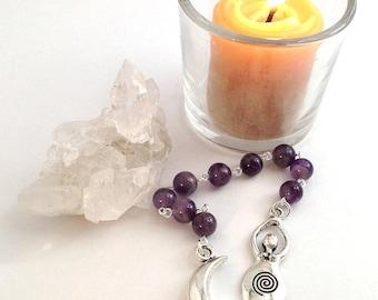 Amethyst Gratitude Beads // Goddess Prayer Beads // Pagan Prayer Beads