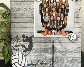 Hardcourt Volleyball V2 - Sports Game Coach Teen Team Magnetic Picture Frame Handmade Gift Present Home Decor Size 9 x 11 Holds 5 x 7 Photo