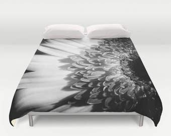 Gerbera Daisy Custom Duvet Cover | Floral Print Custom Comforter | Black and White | Custom Bedding Duvet Set | Unique Bedroom Decor