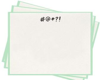 Letterpress '#@*?! Symbol' Flat Note Cards - Set of 8