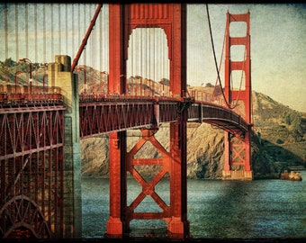 Golden Gate Bridge photo 24x36 : san francisco photography bay area northern california photo historic red orange teal home decor